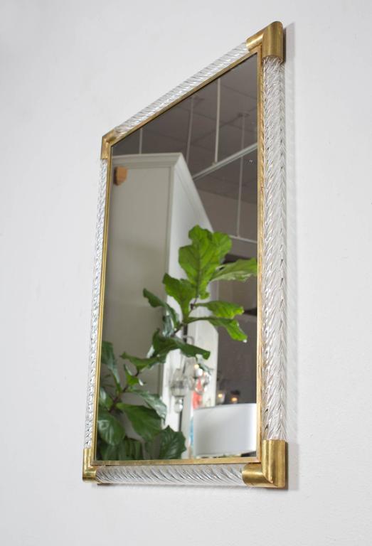 Brass Italian Pair of Murano Mirrors by Ongaro e Fuga For Sale