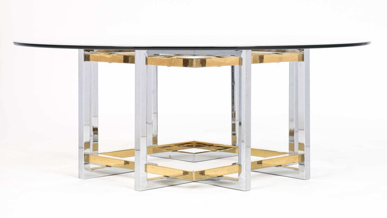 Mid century modern chrome and brass coffee table at 1stdibs for Coffee table 72 inch