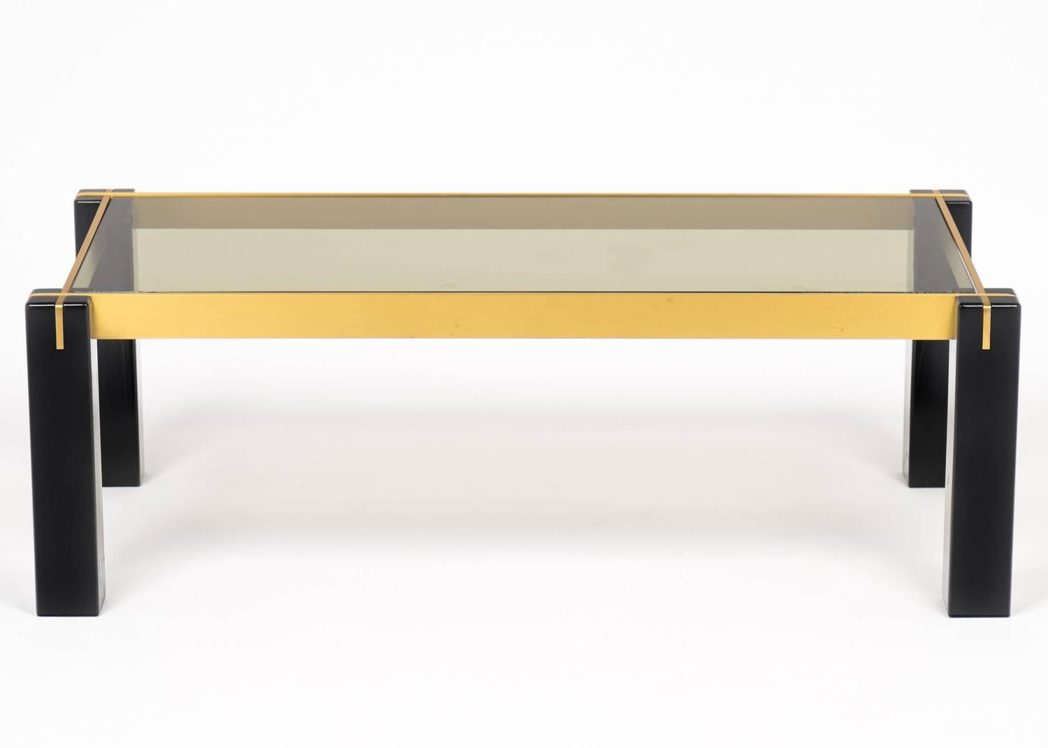 French Vintage Smoked Glass Top Coffee Table At 1stdibs