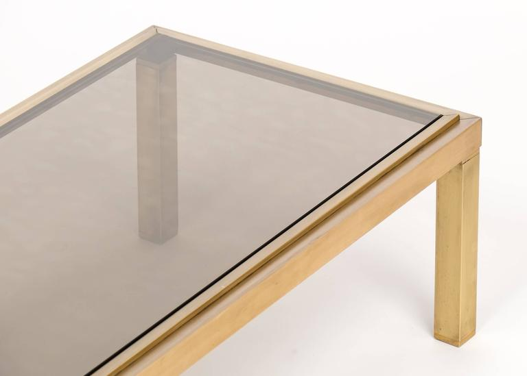 French Modernist Polished Brass Coffee Table For Sale 1