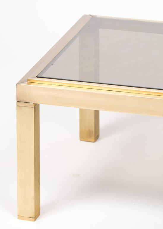 French Modernist Polished Brass Coffee Table For Sale 2