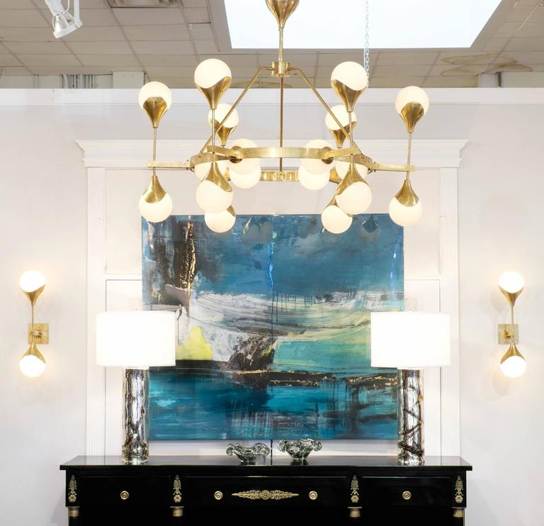 A Breathtaking And Brilliant Murano Globe Glass Textured Brass Chandelier This Illuminating Piece Holds