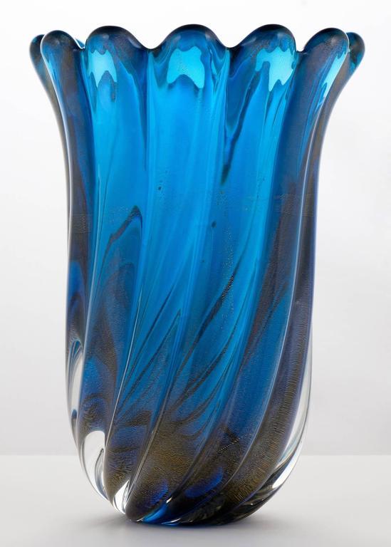 Murano Cobalt Blue Polvera Doro Glass Vase At 1stdibs