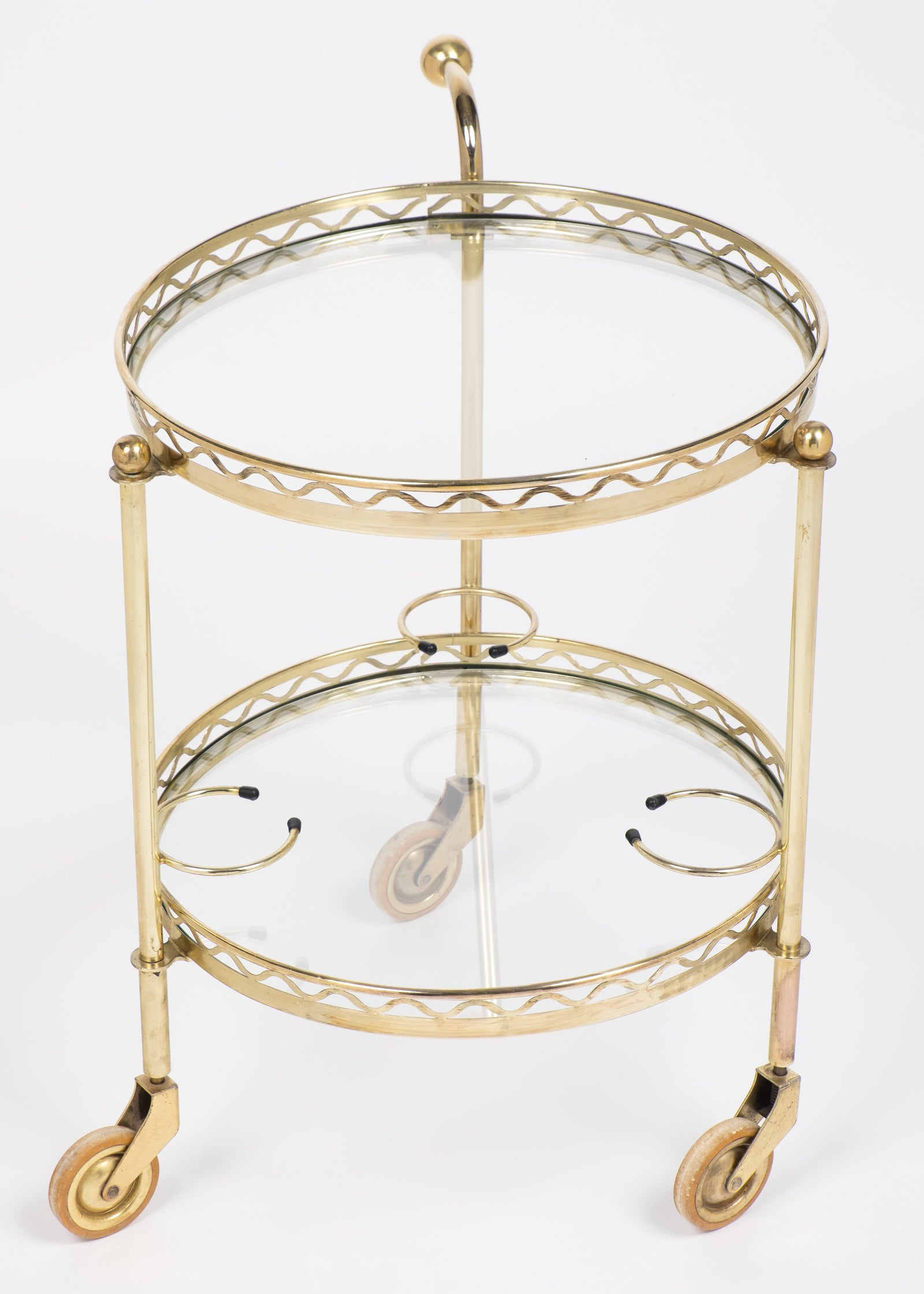 French Vintage Round Brass Bar Cart With Handle At 1stdibs