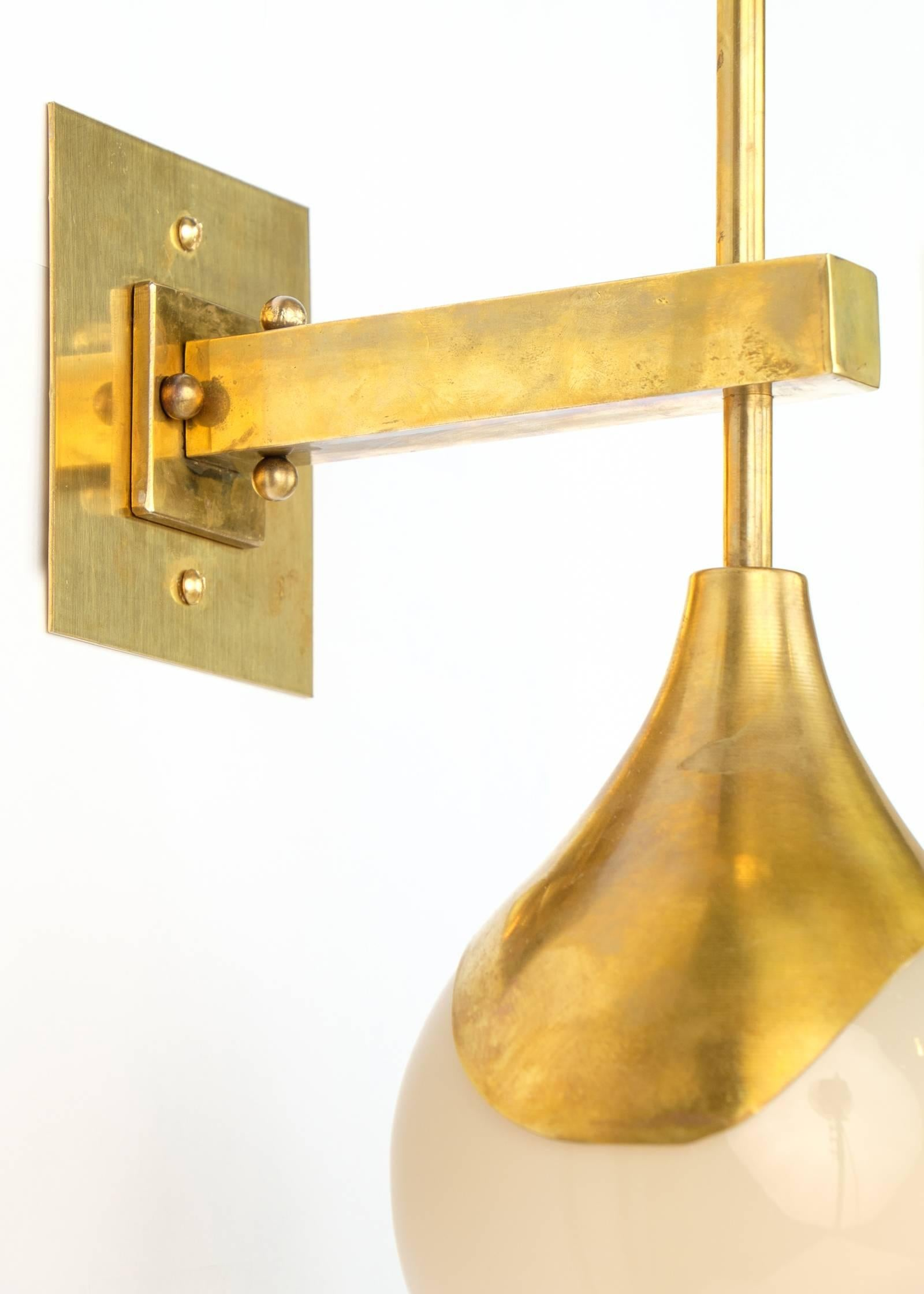 Italian Murano Glass and Brass Wall Sconces at 1stdibs