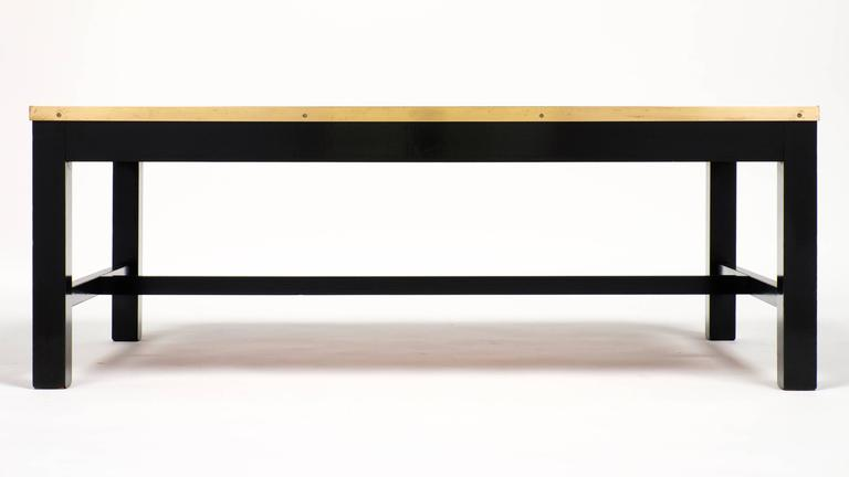 Vintage Black Glass And Brass Coffee Table At 1stdibs