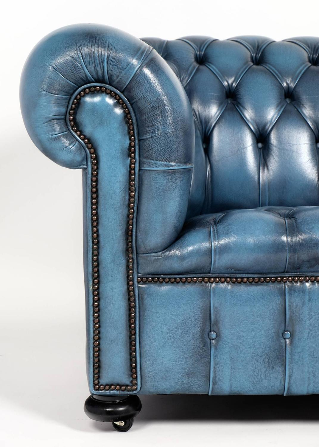Blue Leather Chesterfield Sofa Blue Leather Chesterfield Sofa Vintage Steel Blue Leather