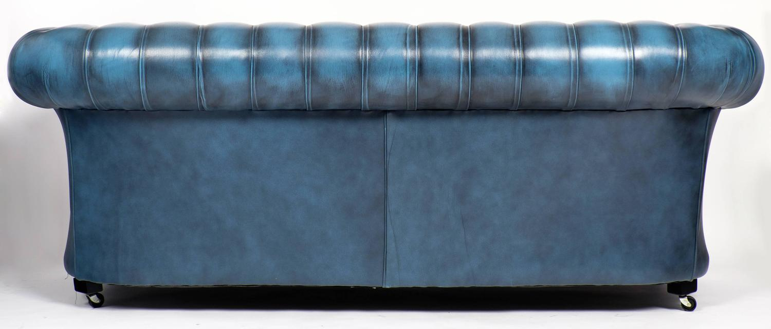 Vintage Steel Blue Leather Chesterfield Sofa at 1stdibs