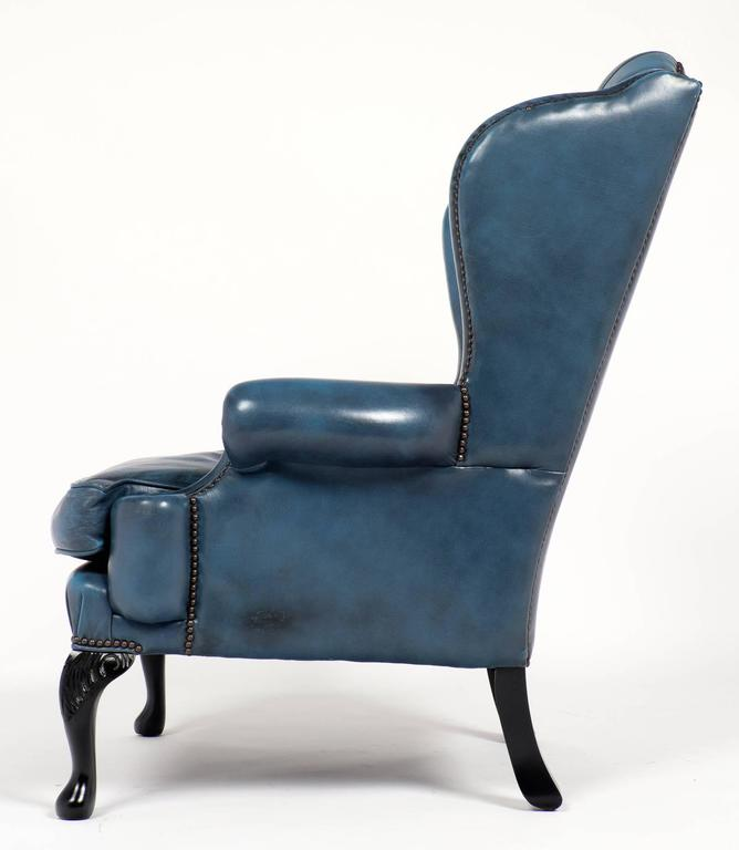 Vintage Steel Blue Leather Chesterfield Wingback Armchair