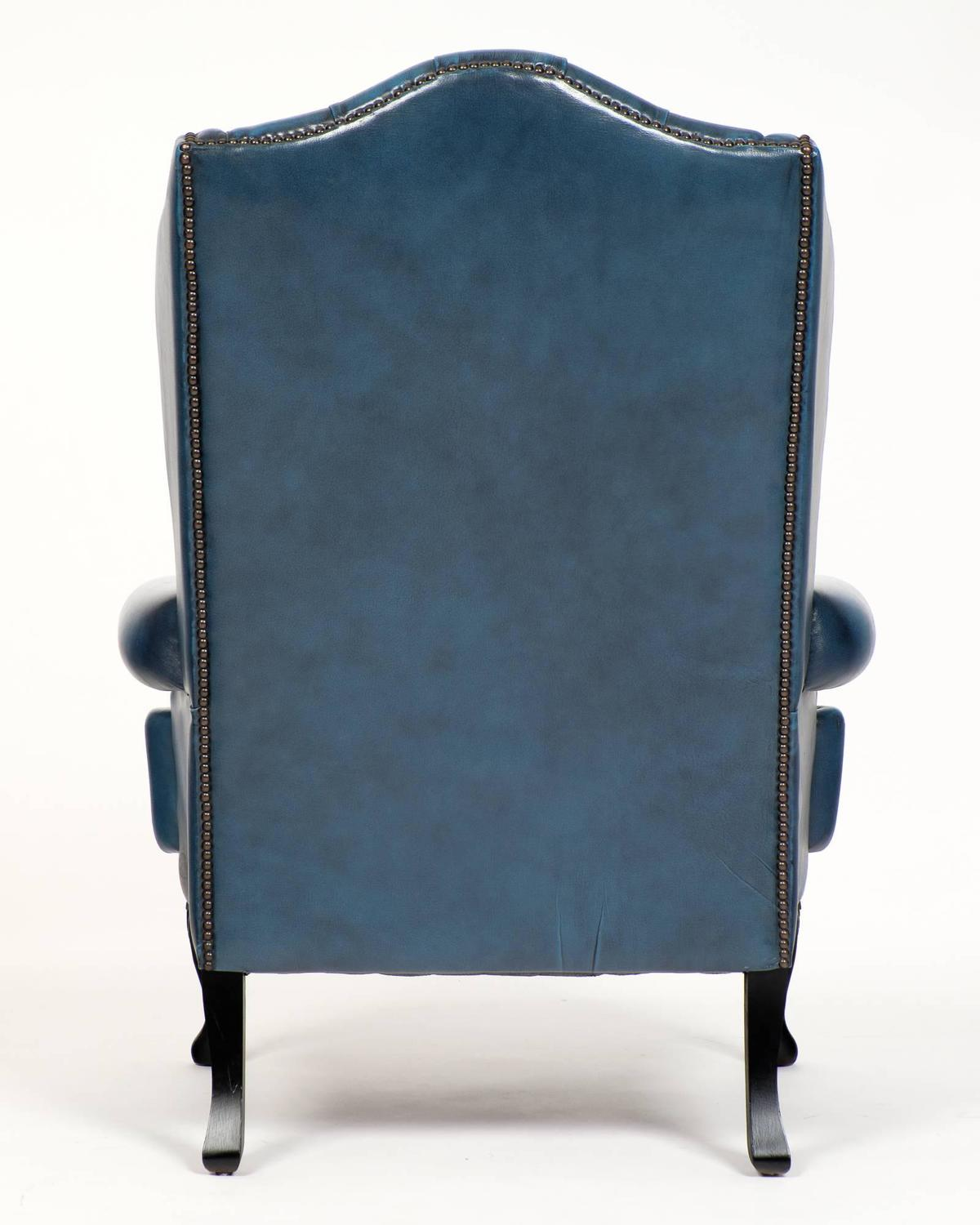 Vintage Steel Blue Leather Chesterfield Wingback Armchair ...