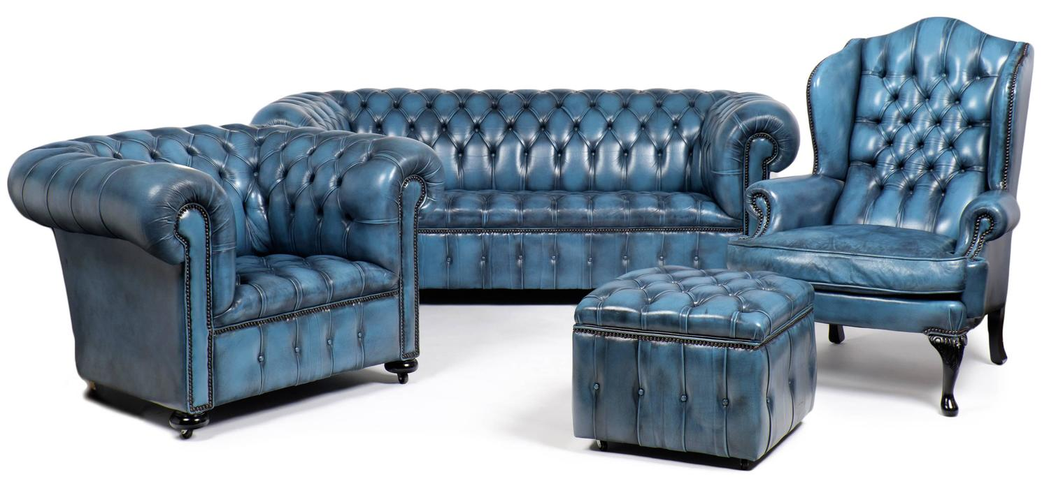 Merveilleux Vintage Steel Blue Leather Chesterfield Wingback Armchair At 1stdibs