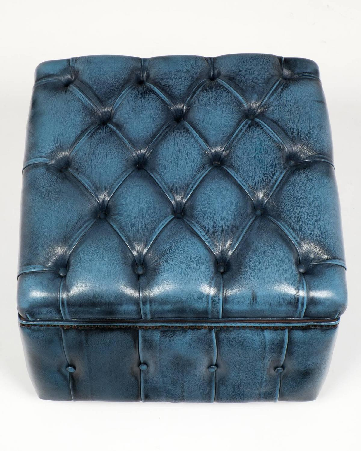 Vintage Steel Blue Leather Chesterfield Storage Ottoman At