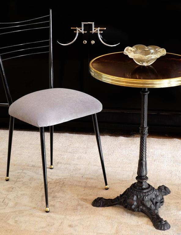 French Antique Bistro Table With A Beautiful Cast Iron Base, Altuglas Top  With Brass Trim