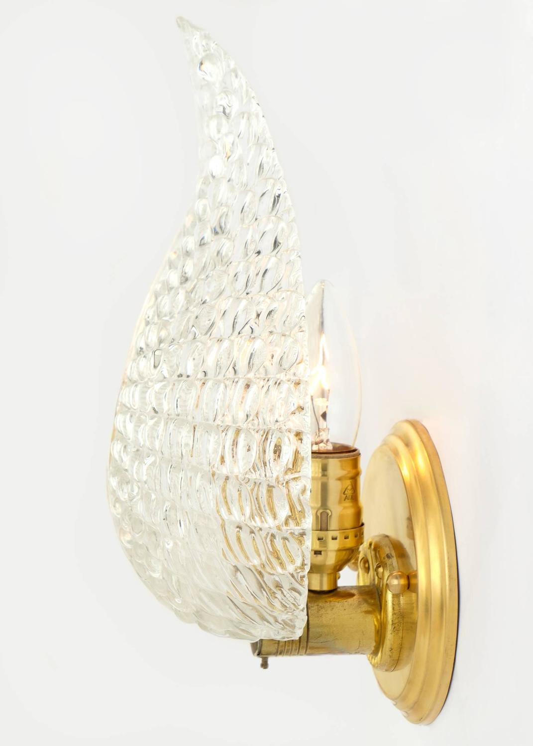 Murano Glass Wall Sconces : Murano Glass Leaf and Brass Wall Sconces For Sale at 1stdibs