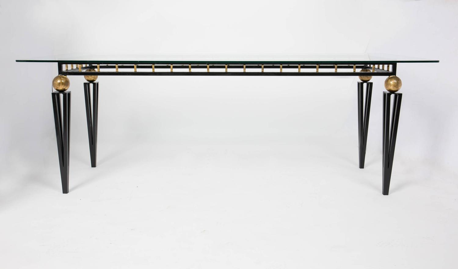 Vintage forged iron and glass dining table at 1stdibs for Iron dining table