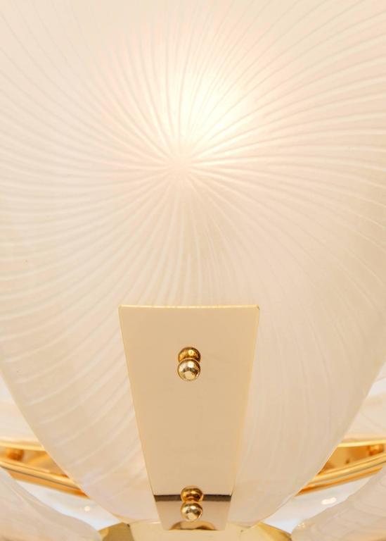 Murano Petal Glass Brass Chandelier For Sale At 1stdibs
