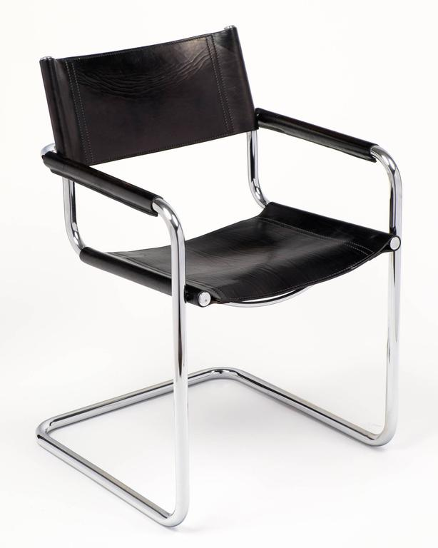 marcel breuer black leather and tubular chrome steel chairs, set