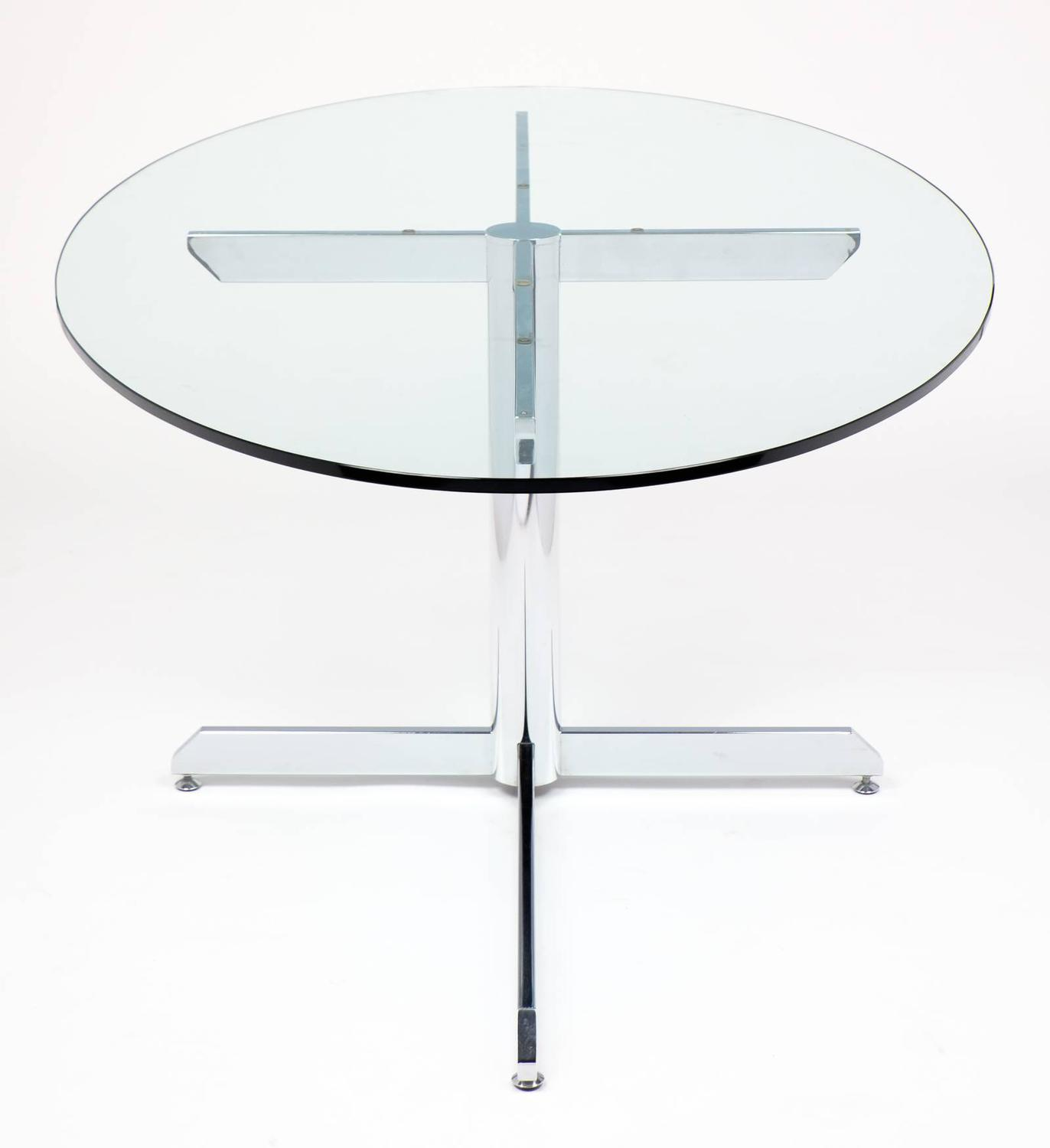 French Modernist Oval Glass And Chrome Knoll Style Dining Table For Sale At 1stdibs