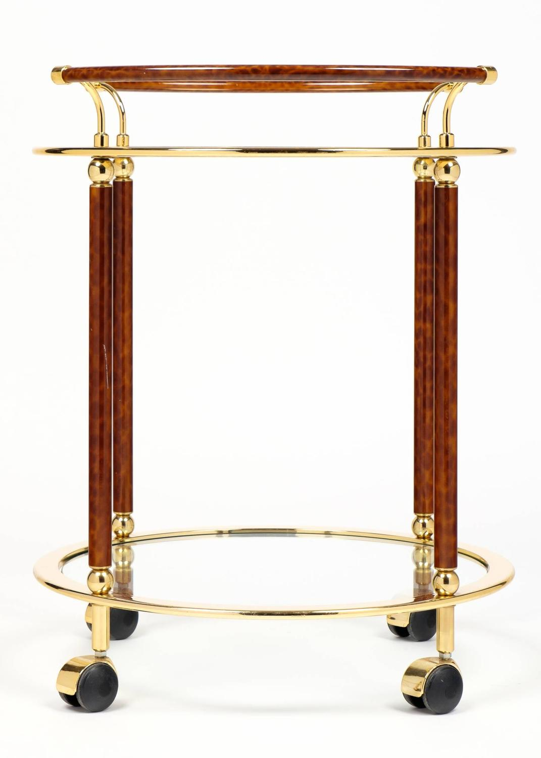 vintage french round brass glass top bar cart by maison lancel at