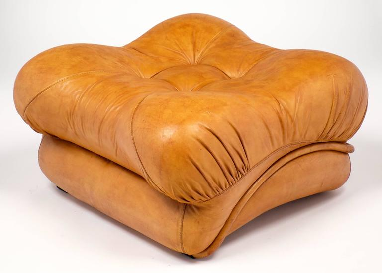 Pair Of Mid Century Modern French Soft Leather Ottomans At