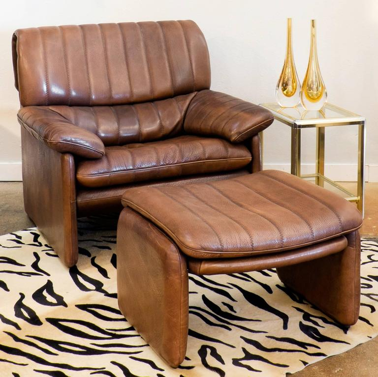 Vintage De Sede Ds 85 Soft Leather Armchair And Ottoman At