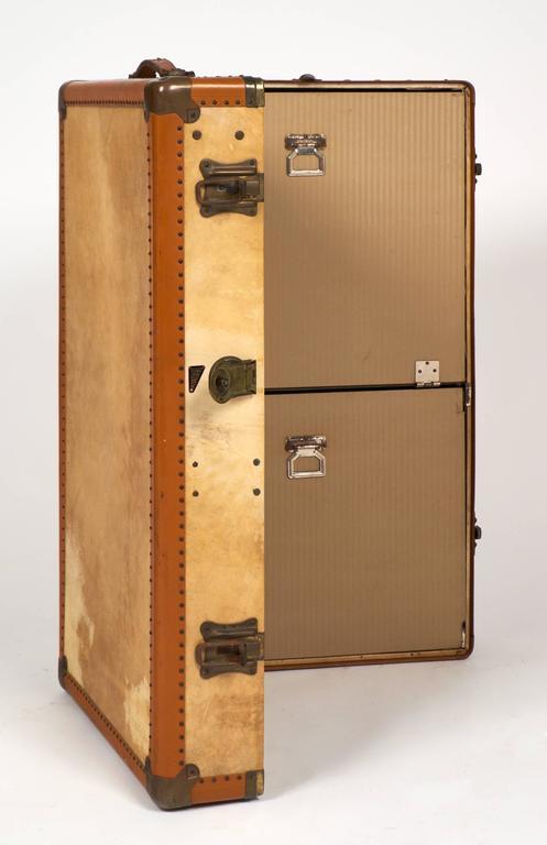 French Vintage Moleskin Steamer Trunk or Suitcase at 1stdibs