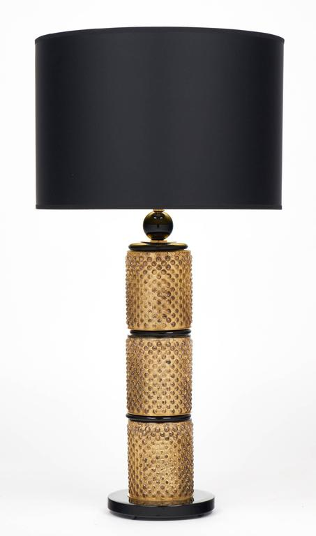Mid-Century Modern Pair of Murano Gold Leaf and Black Glass Table Lamps For Sale