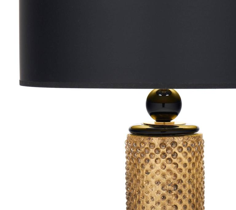 Italian Pair of Murano Gold Leaf and Black Glass Table Lamps For Sale