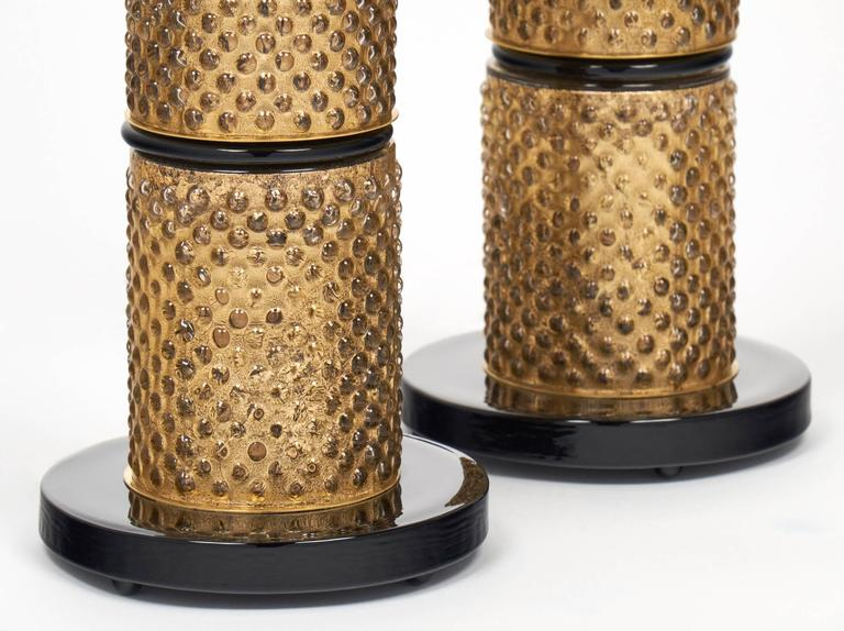 Pair of Murano Gold Leaf and Black Glass Table Lamps For Sale 3