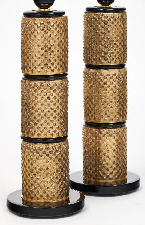 Pair of Murano Gold Leaf and Black Glass Table Lamps For Sale 1