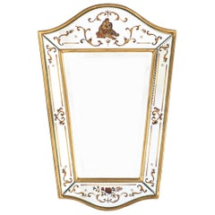 French Vintage Eglomisé and Gold Leaf Wall Mirror