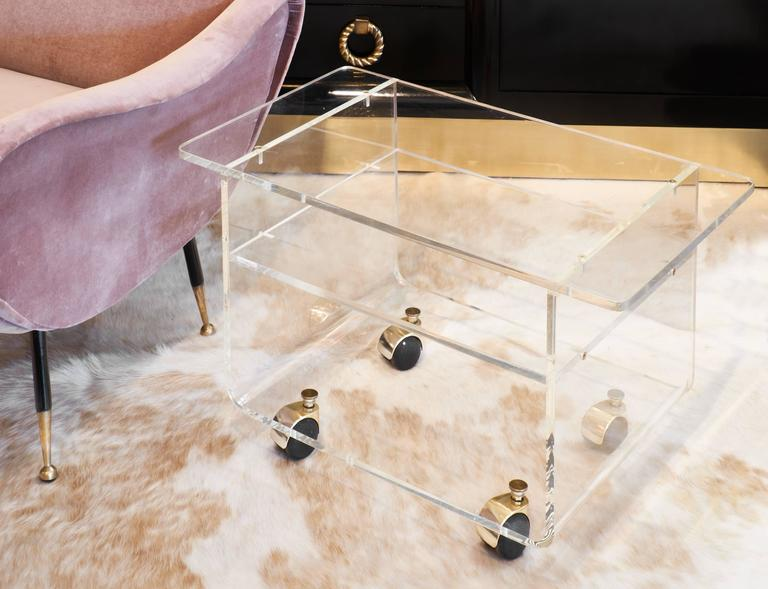 Low Lucite Bar Cart Side Table 2