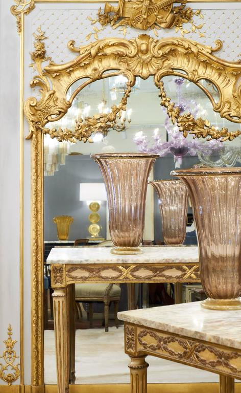 Resplendent French Louis Xvi Style Trumeau With Magnificent Hand Carved Gold Leafed