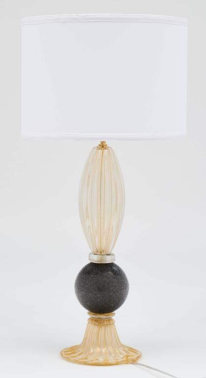Pair of Gold and Gray Murano Glass Table Lamps For Sale 4
