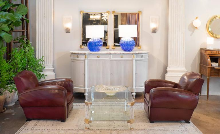 Important pair of cobalt blue Murano glass table lamps with 23-karat