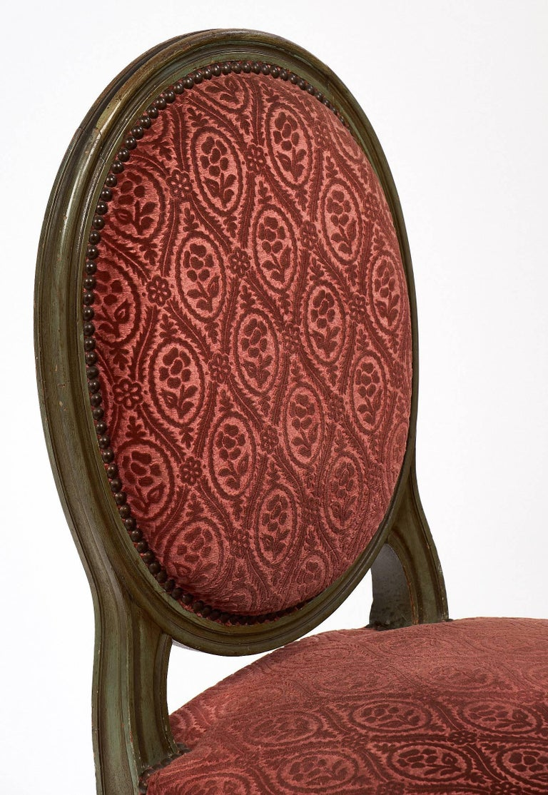 Late 19th Century Pair of French Antique Louis XVI Style Medallion Back Chairs For Sale