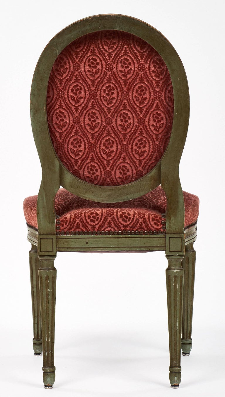 Pair of French Antique Louis XVI Style Medallion Back Chairs For Sale 3