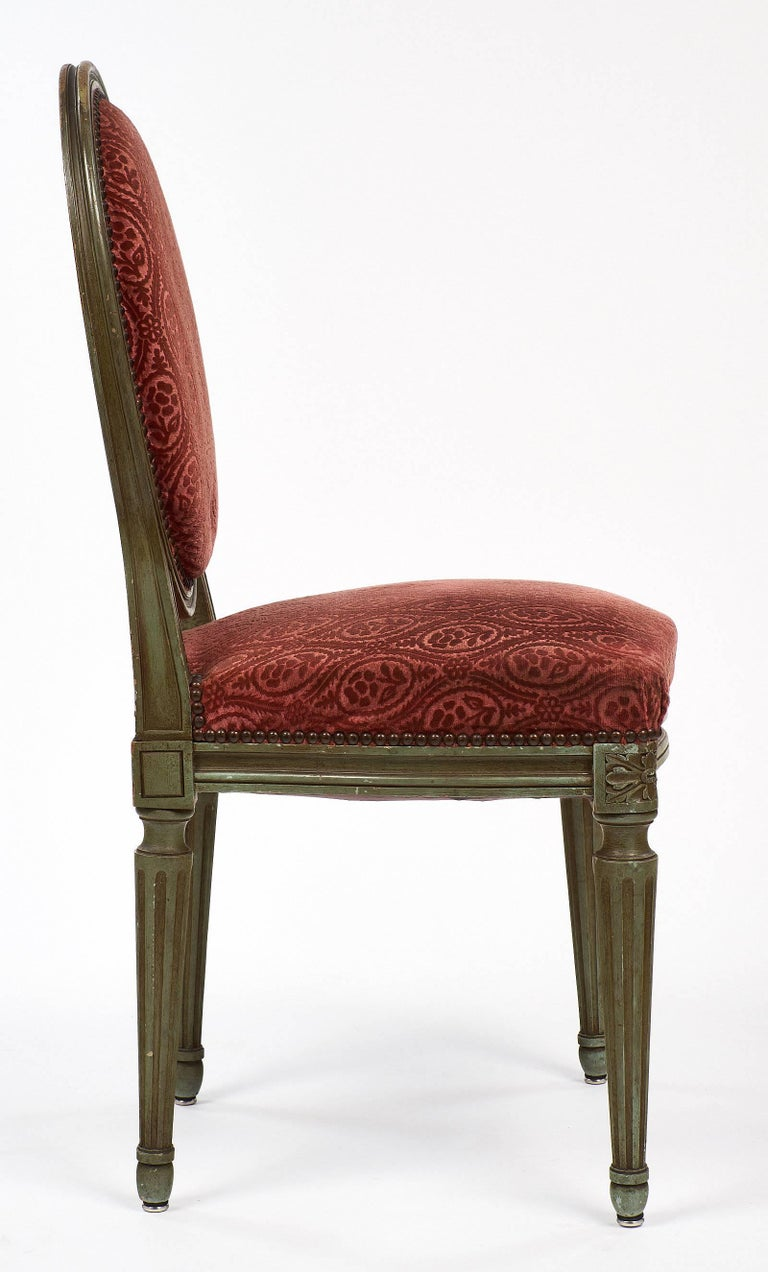 Pair of French Antique Louis XVI Style Medallion Back Chairs For Sale 2