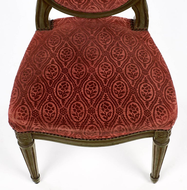Pair of French Antique Louis XVI Style Medallion Back Chairs For Sale 1
