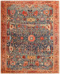 Light Blue Beautiful Persian Serapi Rug