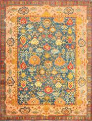 beautiful Blue Background Antique Turkish Oushak Rug