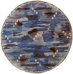 Round Blue Vintage Rya Scandinavian Rug