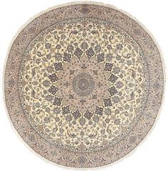 Round Vintage Nain Persian Rug