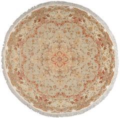 Round Fine Vintage Tabriz Persian Rug