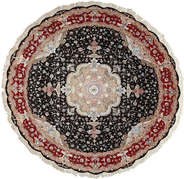 Modern Persian Tabriz Design Rug 44687 Nazmiyal Antique Rugs: Round Black Vintage Tabriz Persian Rug For Sale At 1stdibs