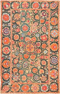 Antique Floral Uzbek Suzani Embroidery Textile