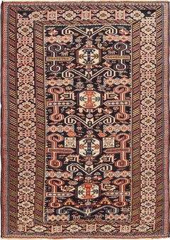 Small Size Antique Tribal Perpedil Caucasian Rug