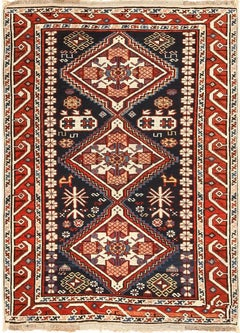 Small Running Dog Design Antique Caucasian Shirvan Rug