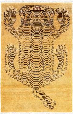 Vintage Mid Century Chinese Tiger Rug