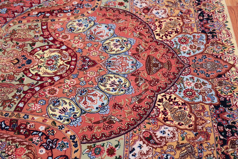 Silk And Wool Large Geometric Vintage Tabriz Persian Rug